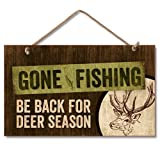 Rustic Country Gone Fishing Man Cave Hunting Sign Wall Decor Plaque