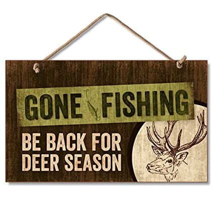 Amazon Rustic Country Gone Fishing Man Cave Hunting Sign Wall Classy Gone Fishing Signs Decor