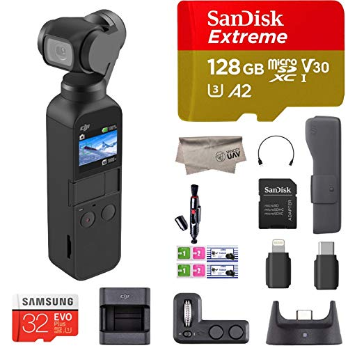 2019 DJI Osmo Pocket Handheld 3 Axis Gimbal Stabilizer with Integrated Camera and Expansion Kit Combo, Comes 128GB Extreme Micro SD, Attachable To Smartphone, Android, iPhone