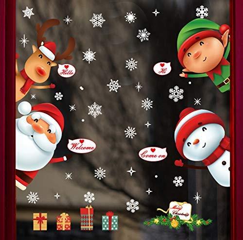 Yusongirl Christmas Windows Stickers Santa Claus Reindeer Removable Vinyl Christmas Tree DIY Wall Window Door Mural Decal Sticker for Showcase