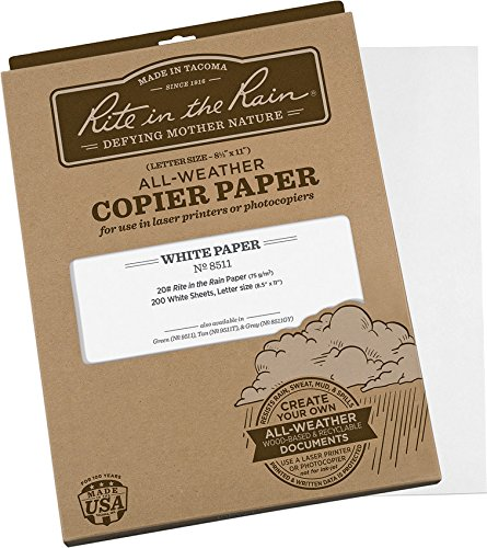 Rite in the Rain All-Weather Copier Paper, 8 1/2' x 11', 20# White, 200 Sheet Pack (No. 8511)