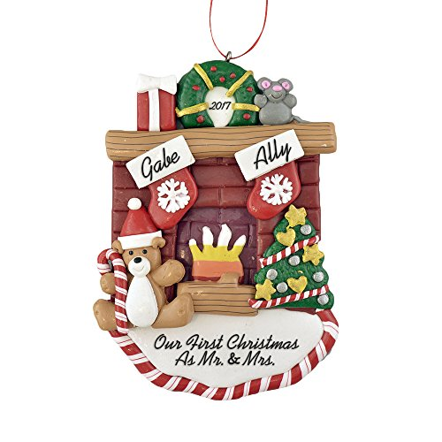 Fireplace Mantle with Stockings to Personalize Christmas Ornament (Family of 2) - First Christmas as Mr. and Mrs. 2018 - Calliope Designs - 5'' tall - Handcrafted - Free Customization by Calliope Designs