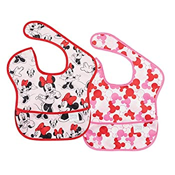 Bumkins Disney Minnie Mouse SuperBib, Child Bib, Waterproof, Washable, Stain and Odor Resistant, 6-24 Months (Pack of two) – Traditional/Icon