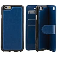 Nice Style Apple iphone 6 plus Case cover, Apple iPhone 6 plus Blue Designer 2-1 Multi-function Detachable Magnetic 3 Card Slots Wallet Style Wallet Case Cover