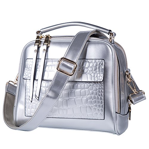- Womens Purses and handbags Silver Patent leather Totes Shoulder Bags Tote Bag (Silver)