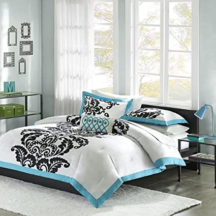 White, Teal & Black Teen Girls Queen Comforter, Shams & Toss Pillow 4 Pc  Bedding by Teen Bedding