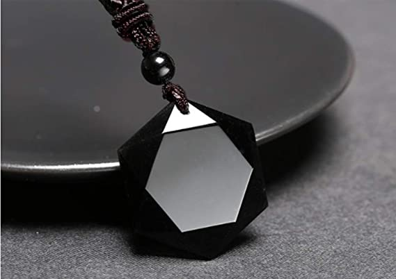 Engraving Crystal Natural Black Obsidian Stones Gossip Pendant Extend Bead Chain for Men Or Women Star of David Obsidian Amulet Chain Yin Yang Pendant Necklace Black Obsidian Pendant Necklace