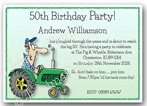 10 Personalised Tractor Birthday Party Invitations 18th 21st 30th 40th 50th 60th 65th 70th 80th 90th 100th Male Funny With Envelopes J303 Amazoncouk