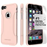 iPhone 8 Case and 7 Case, SaharaCase Protective Kit Bundle with [ZeroDamage Tempered Glass Screen Protector] Rugged Protection Anti-Slip Grip [Shockproof Bumper] Slim Fit - Rose Gold