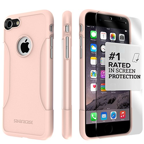 iPhone 8 Case and 7 Case, SaharaCase Protective Kit Bundle with [ZeroDamage Tempered Glass Screen Protector] Rugged Protection Anti-Slip Grip [Shockproof Bumper] Slim Fit - Rose Gold by Sahara Case