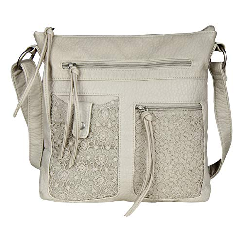 Large Nude Lace Crossbody Messenger Bag Purse - Faux Leather Handbag