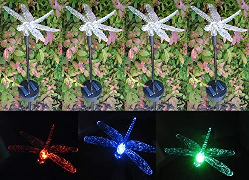 TEKTRUM SOLAR GARDEN COLOR CHANGING DRAGONFLY LIGHTS (Set of 4) For Sale