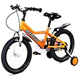Goplus 12'' Kid's Bike Freestyle Outdoor Sports Bicycle with Training Wheels Boys Girls Cycling (Orange)