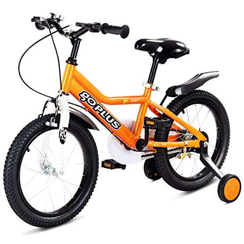 12' Girls Bike - Goplus 12'' Kid's Bike Freestyle Outdoor Sports Bicycle with Training Wheels Boys Girls Cycling (Orange)