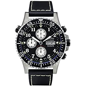 Xezo Men's Air Commando Diver Pilot Swiss Automatic Valjoux 7750 Luxury Chronograph Waterproof Wrist Watch with Leather Band. 2 Time Zones