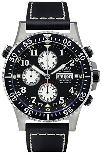 Xezo Men's Air Commando Diver Pilot Swiss Automatic Valjoux 7750 Luxury Chronograph Waterproof Wrist Watch with Leather Band. 2 Time Zones ()
