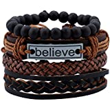 4 Pcs Leather Bracelet Believe for Men Wrist Band Handmade Vintage Beaded Bracelet Bangle Braided Cuff Adjustable