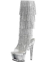 Summitfashions Womens Silver Evening Shoes Rhinestone Boots Fringe Knee High 6 1/2 inch Heels