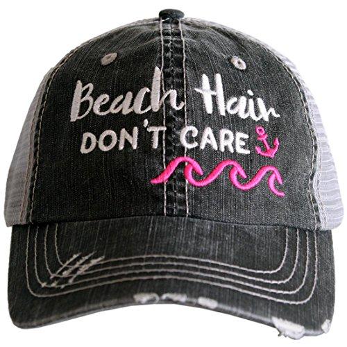 (Katydid Beach Hair Don't Care Women's Distressed Grey Trucker Hat (Pink Waves))