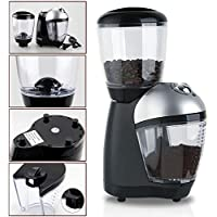 110V 220V Premium Home Electric Italian Coffee Grinder Mills Muller Machine With Anti-skid Rubber Feet Plastic Body Bean Container Cover Powder Cup For Grinding Coffee Beans