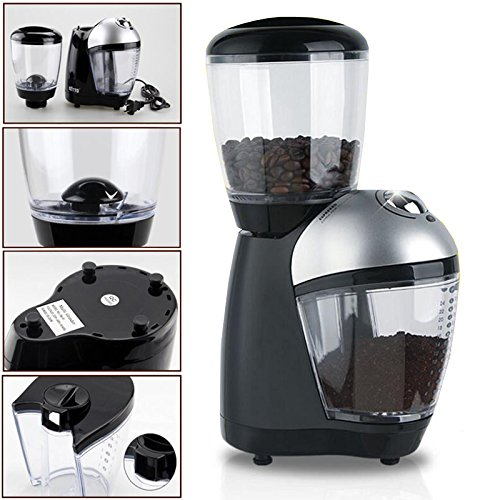 110V 220V Premium Home Electric Italian Coffee Grinder Mills Machine With Anti-skid Rubber Feet Plastic Body Bean Container Cover Powder Cup For Grinding Coffee Beans YUEWO