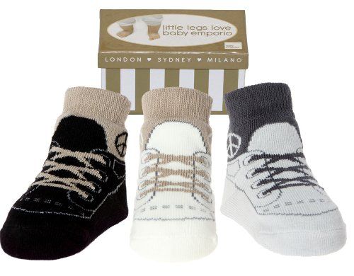 Baby Emporio-Baby & Infant Boy Socks -Shoe Look-Anti slip-3 Pairs-Keepsake Box-0-9 M