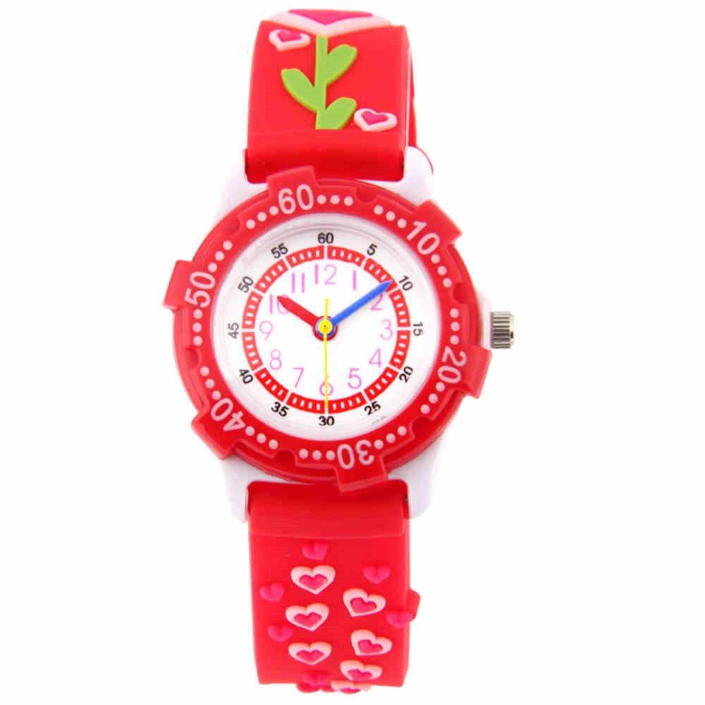 Fashion child Waterproof 3D Love Heart Cartoon Design Analog Wrist Watch kid Quartz Wrist Watches