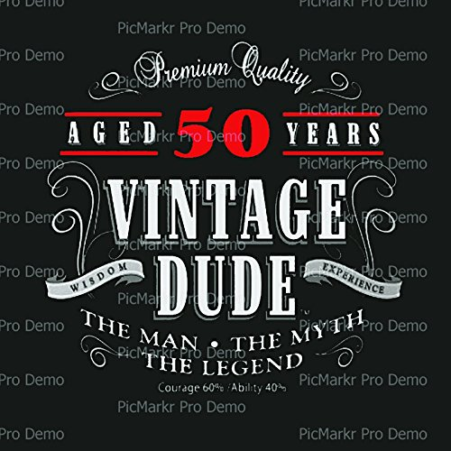 Vintage Dude 50th Birthday with Black Background Edible Icing Image for 1/4 sheet cake]()