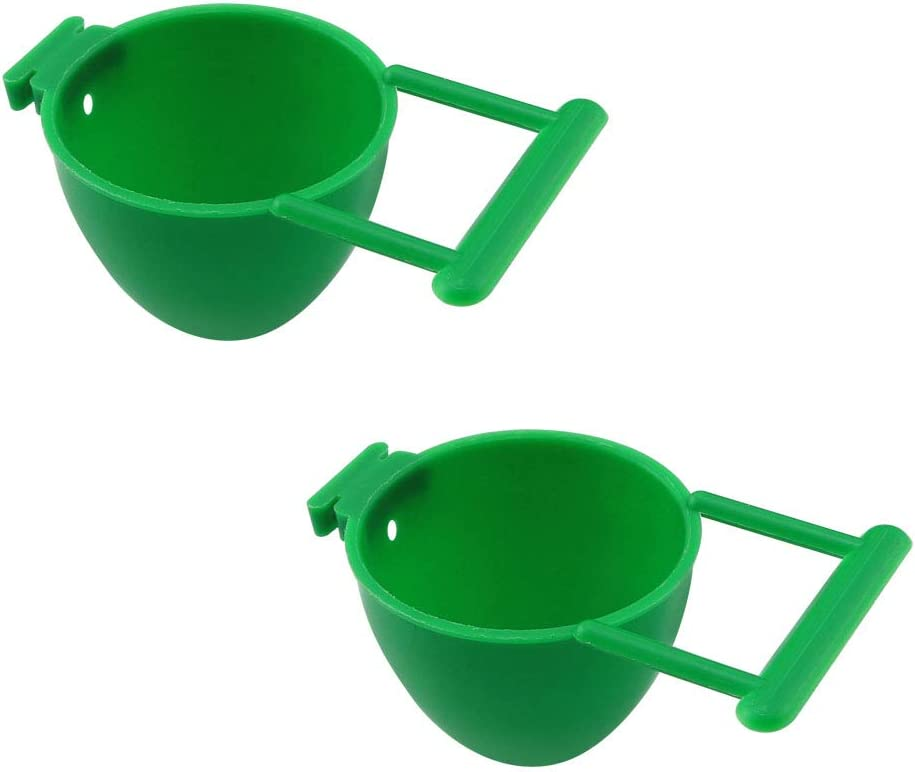 WHYHKJ 2pcs Bird Feeding Cups Plastic 5x3.5cm Bird Parrot Food Water Feeder Feeding Holder Bird Feeder