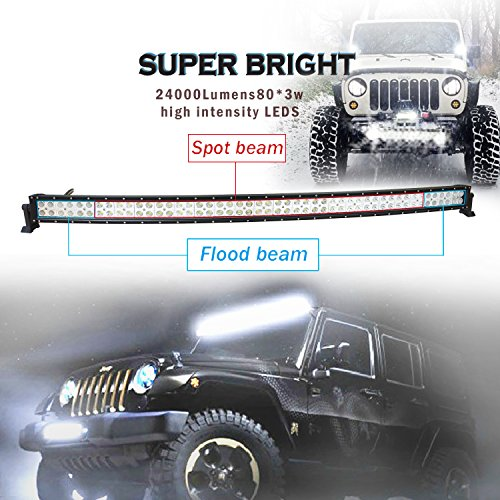 EasyNew-42-240W-Curved-LED-Work-Light-Bar-IP68-Waterproof-Flood-Spot-Combo-Beam-for-Offroad-SUV-UTE-ATV-Truck-with-FREE-2PCS-18W-LED-work-lights-and-Wiring-Harness-and-Mounts