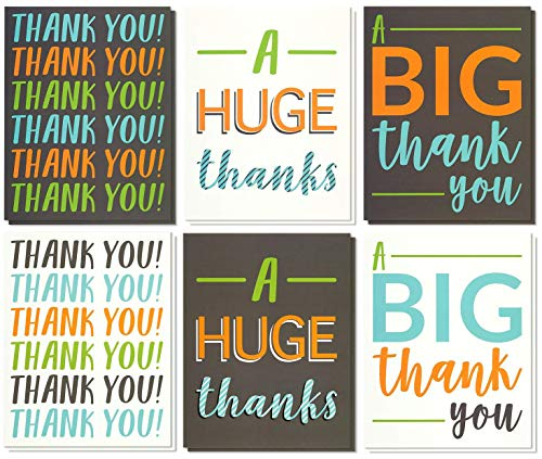 (12 Pack Jumbo Thank You Greeting Cards, 6 Assorted Multicolor Designs, Bulk Box Set Variety Assortment, Envelopes Included, 8.5 x 11)