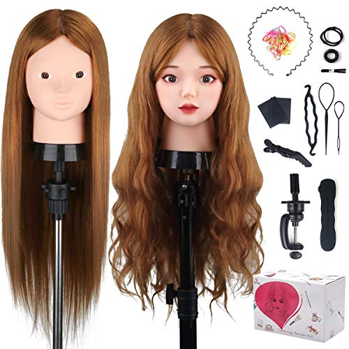 Beauty Star 23.5 inch 100% Real Human Hair Training Head Cosmetology Make-up Hairdressing Mannequin Manikin Doll Head with Table Clamp Holder + DIY Hair Styling Braid Set, Light Brown