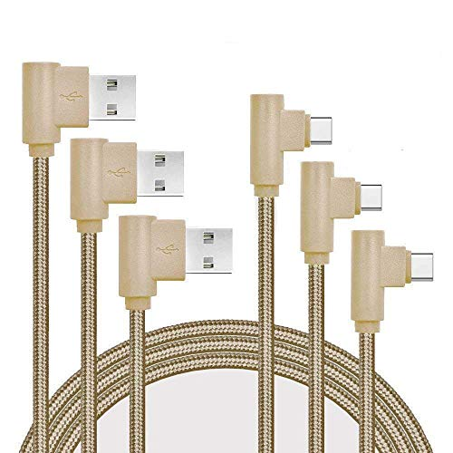 Type C Charger Cable, Daker [3Pack] 10ft Right Angle 90 Degree Nylon Braided Cord Charger for Samsung Galaxy S8/S8+, Note 8, Google Pixel XL, LG G5/G6/V20, ZTE Zmax Pro Z981, (Gold)