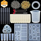 TOODOO Resin Casting Molds Jewelry Making Silicone Molds and Metal Stirring Rods, Droppers, Silicone Measuring Cup, Finger Cots and Screw Eye Pins Tools, 128 Pieces Totally