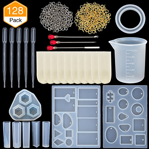 TOODOO Resin Casting Molds Jewelry Making Silicone Molds and Metal Stirring Rods, Droppers, Silicone Measuring Cup, Finger Cots and Screw Eye Pins Tools, 128 Pieces Totally by TOODOO