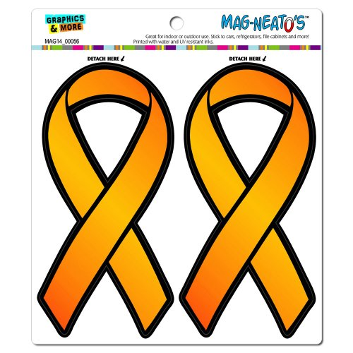 Orange Awareness Support Ribbon - Leukemia Multiple Sclerosis MAG-NEATO'S(TM) Automotive Car Refrigerator Locker Vinyl Magnet ()