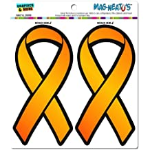 Orange Awareness Support Ribbon - Leukemia Multiple Sclerosis MAG-NEATO'S(TM) Automotive Car Refrigerator Locker Vinyl Magnet Set