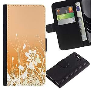 KingStore / Leather Etui en cuir / Sony Xperia Z1 Compact D5503 / Dise?o floral blanco anaranjado Flores Campo