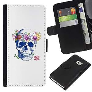A-type (Cráneo del amor de Rose floral de la guirnalda de la primavera) Colorida Impresión Funda Cuero Monedero Caja Bolsa Cubierta Caja Piel Card Slots Para Samsung Galaxy S6 EDGE (NOT S6)