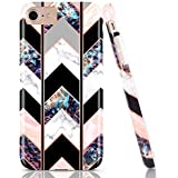 BAISRKE Shiny Rose Gold Wave Geometric Marble Case Slim Soft TPU Rubber Bumper Silicone Protective Phone Case Cover Compatible with iPhone 8 / iPhone 7 / iPhone 6 6s 4.7 inch [Black]
