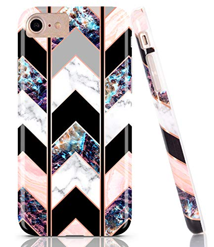 BAISRKE Shiny Rose Gold Wave Geometric Marble Case Slim Soft TPU Rubber Bumper Silicone Protective Phone Case Cover Compatible with iPhone 8 / iPhone 7 / iPhone 6 6s 4.7 -