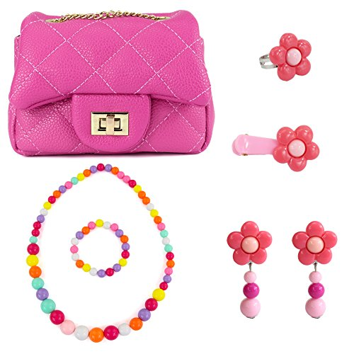 CMK TRENDY KIDS My First Quilted Purse Set for Kids Girls and Toddlers with Hair Clip + Necklace + Bracelet + Earrings + Ring (80000 Hotpink) Quilted Purse Set