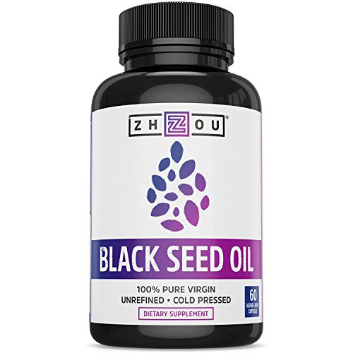 (Zhou Nutrition 100% Virgin Cold Pressed Omega 3-6-9 Black Seed Oil Capsules, 60 Count)