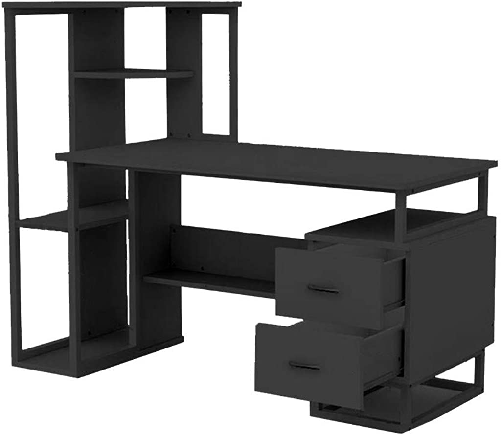 Yliquor Simpleness Laptop Computer Desk with Drawer Shelf Office Home Modern Small Desk