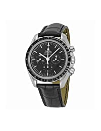 Omega Speedmaster Professional Moonwatch Chronograph Black Dial Black Leather Mens Watch 31133423001002