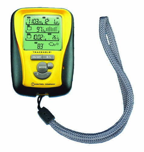 Thomas Traceable Hand Held Digital Barometer, 1 sec - 23 hrs Stopwatch, 14 to 140 degree F, 8.85 - 32.45'' Hg, 0.01'' Hg Resolution