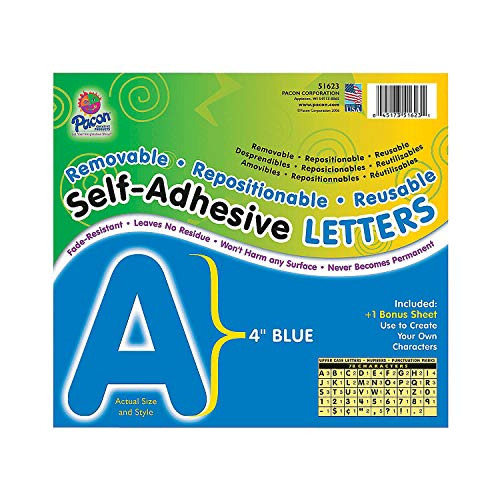 """Fun Express - 4"""" Removable Adhesive Letters - Blue - Educational - Classroom Decorations - Bulletin Board Decor - 78 Pieces"""