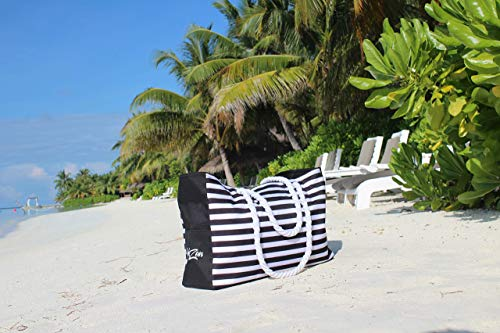 Beach Tote Bag   Large waterproof with zippered top and cotton rope handles (Black)