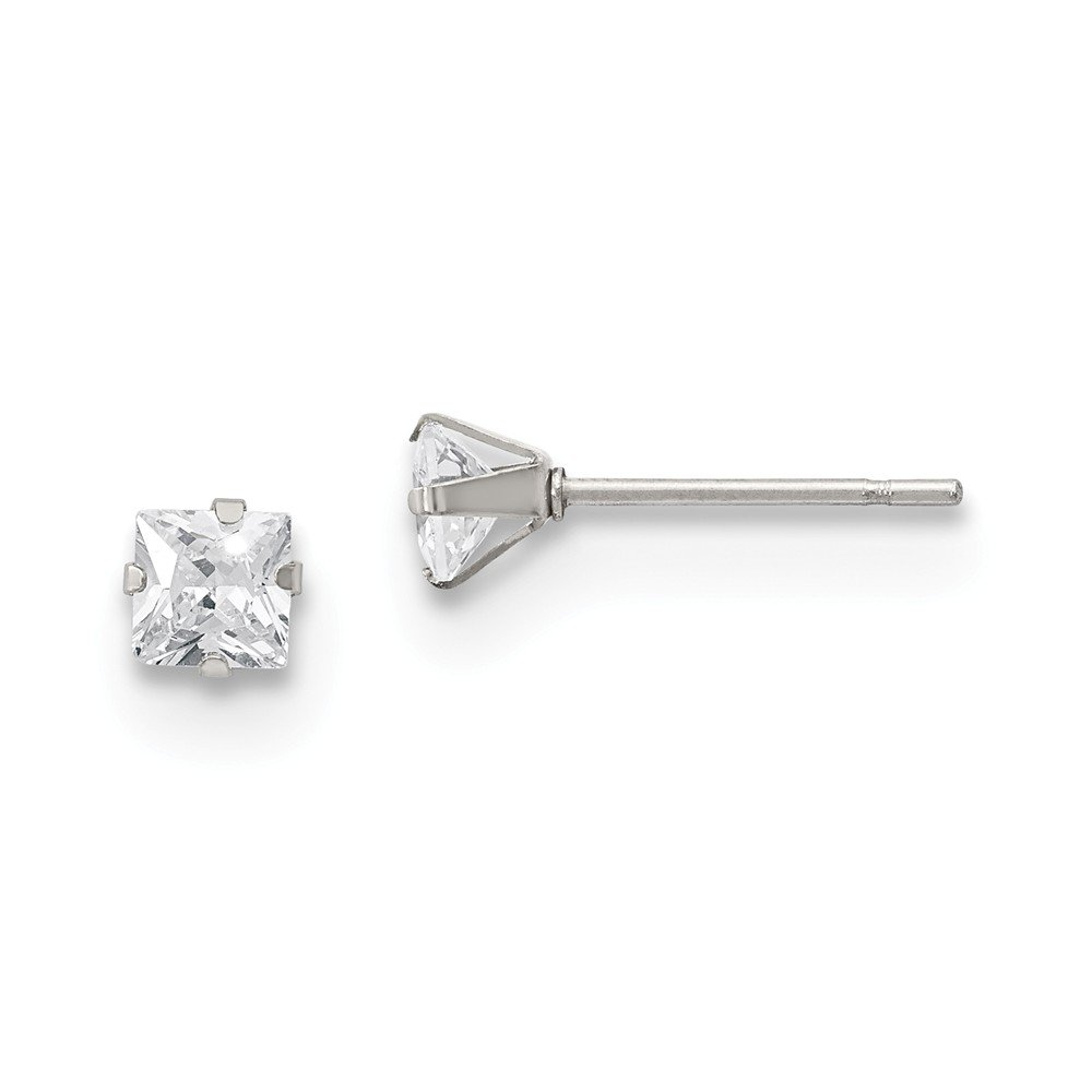 Stainless Steel Polished 4mm Square CZ Stud Post Earrings Length 4.54 Width 4.53