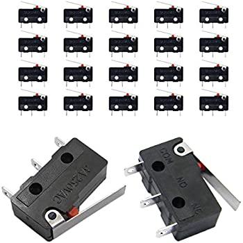 cylewet 20pcs momentary hinge metal roller lever micro switch ac 5a qy 20pcs sub micro limit switch lever arm spdt snap action 5a 125 250vac 3 terminals momentary switch